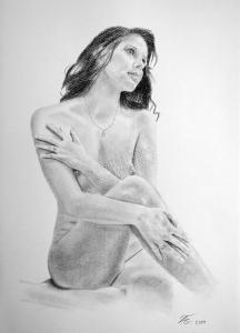 Aktzeichnung als Bleistiftzeichnung - Frauen-Aktzeichnung, erotische Frauen Akt-Zeichnung