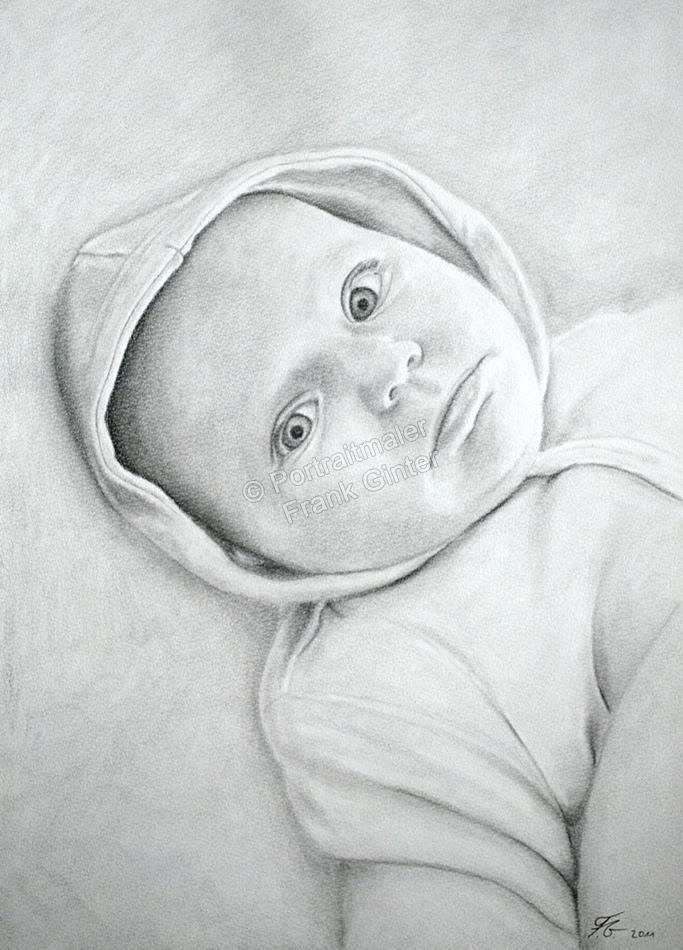 Bleistiftzeichnungen, Portraitzeichnung, Baby Portrait zeichnen lassen
