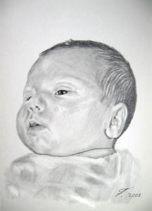 Bleistiftzeichnungen Portraitzeichnung Babyportrait zeichnen lassen, Babyzeichnungen
