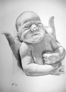 Bleistiftzeichnungen, Portraitzeichnung, Baby Portrait zeichnen lassen, Baby in Händen