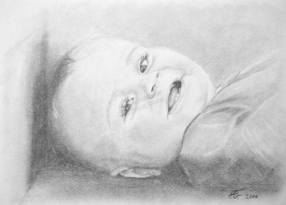 Eine Bleistiftzeichnung Portraitzeichnung - Babyzeichnung, Babyportrait