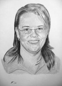 Eine Bleistiftzeichnung Portraitzeichnung einer Frau