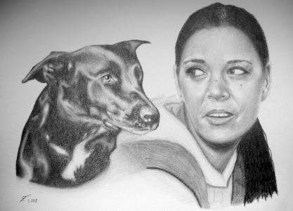 Eine Bleistiftzeichnung Portraitzeichnung einer Frau mit Ihrem Hund