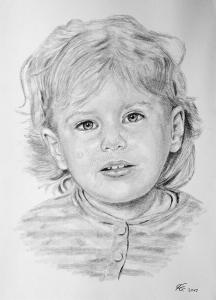 Leipzig, Bleistiftzeichnung, Portraitzeichnung - Kinder, Bleistiftzeichnungen, Kohlezeichnungen, Kinder-Portrait Mädchen, Kohlezeichnung