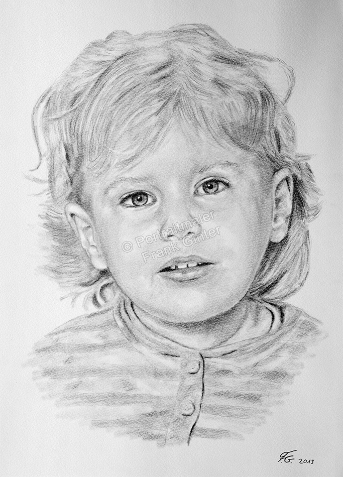 Eine Bleistift Portraitzeichnung eines Kindes - Mädchen