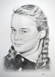 Eine Bleistiftzeichnung Portraitzeichnung eines Kindes - Mädchen