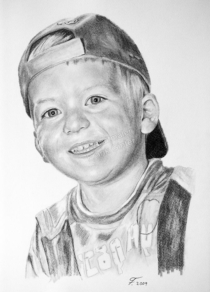 Eine Bleistift Portraitzeichnung eines Kindes - Junge