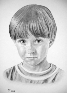 Eine Bleistiftzeichnung Portraitzeichnung eines Kindes - Junge