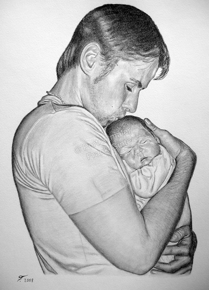 Leipzig, Bleistiftzeichnung, Portraitzeichnung – Kohlezeichnungen, Vater mit seinem Baby, Bleistiftzeichnungen, Baby-Portrait mit Papa Kohlezeichnung