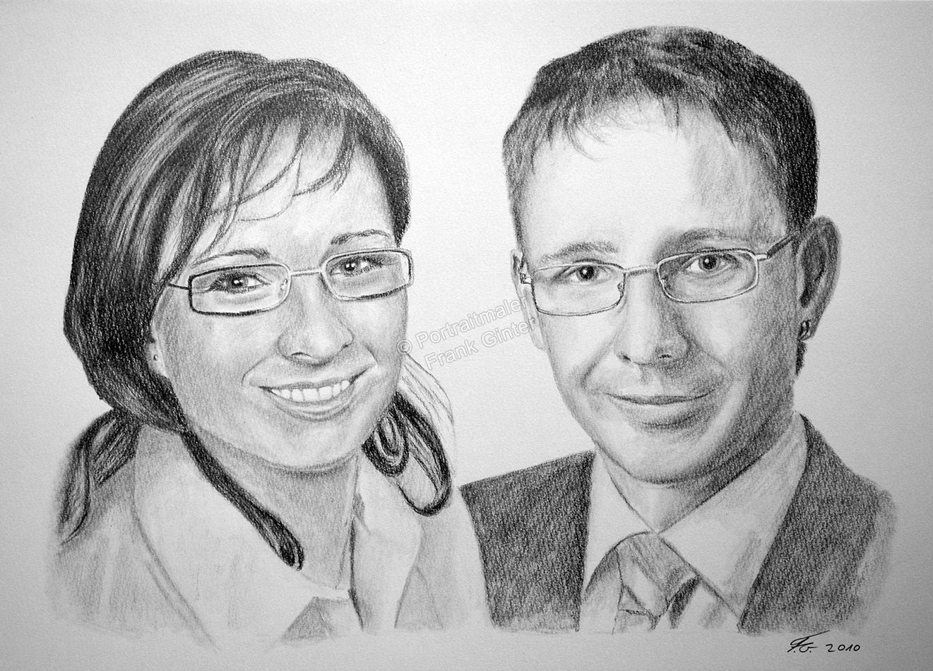 Bleistiftzeichnungen, Portraitzeichnung  von Geschwistern, Kinder Portrait zeichnen lassen, Mann und Frau Paarzeichnung Paarportrait