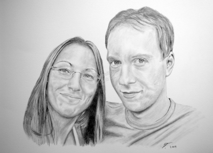 Bleistiftzeichnungen, Portraitzeichnung  von Verliebten, Portrait zeichnen lassen, Mann und Frau Paarzeichnung Paarportrait