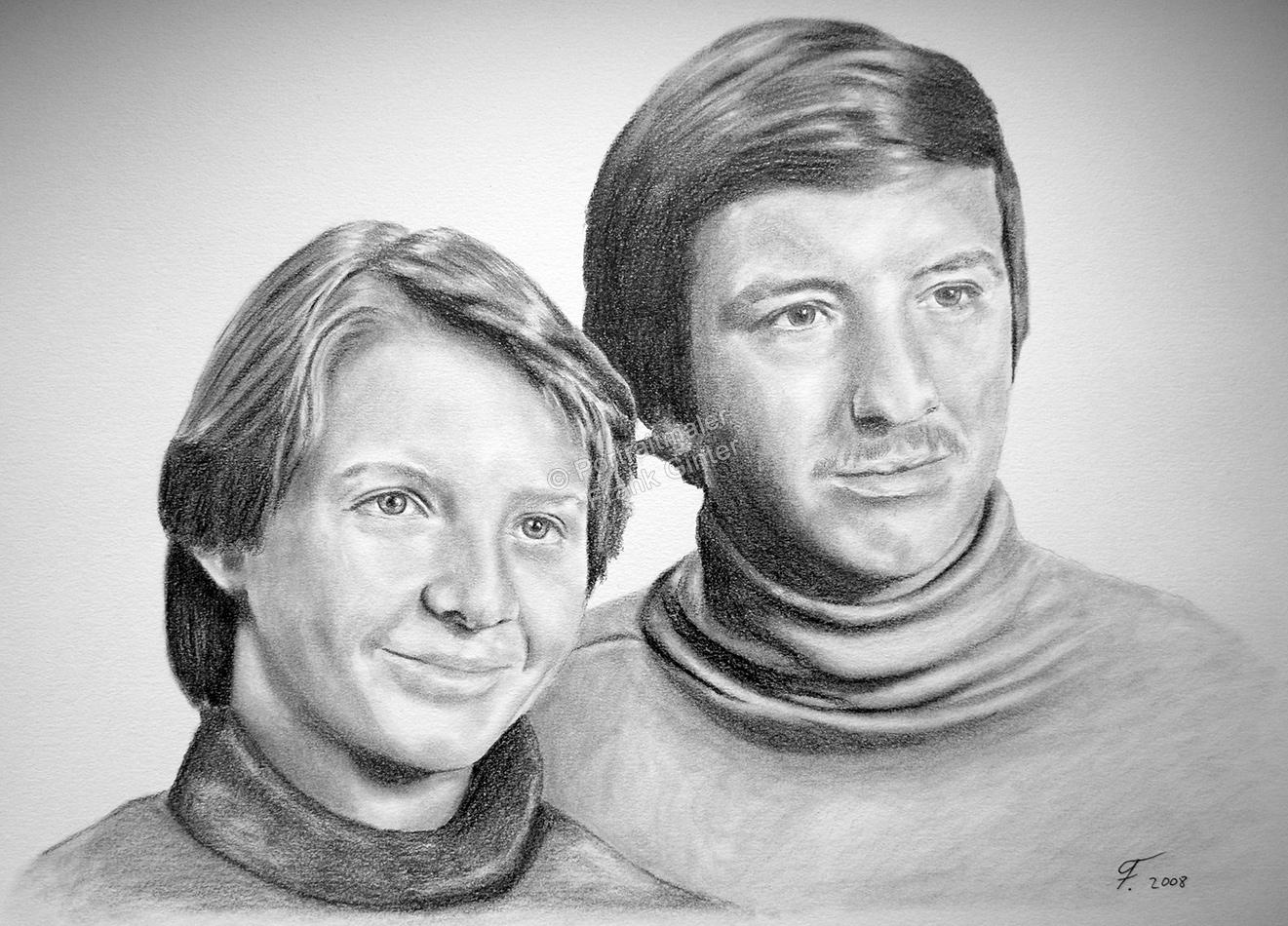 Eine Portraitzeichnung - Bleistiftzeichnung Mann und Frau Paarzeichnung Paarportrait