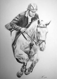 Eine Tierzeichnung - Pferdezeichnung, Pferd mit Reiter als Bleistiftzeichnung