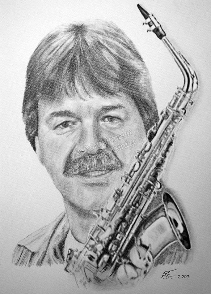 Bleistiftzeichnung, Portraitzeichnung, Bleistiftzeichnungen von Männern, Bleistift-Portraits, Portraitzeichnungen mit Bleistift, Saxophone