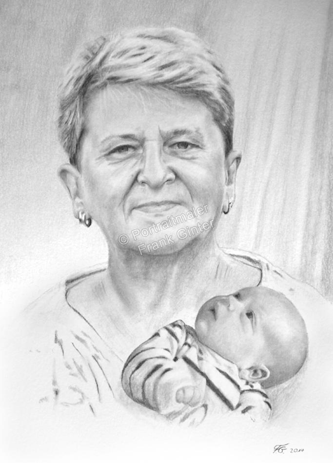 Eine Bleistiftzeichnung Portraitzeichnung - Oma mit Baby
