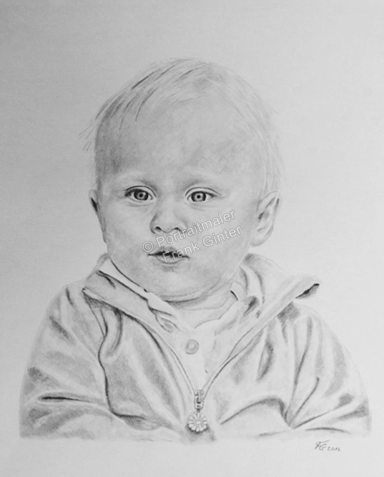Eine Kohlezeichnung Portraitzeichnung eines Babys, Babyportrait