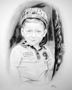 Eine Kohlezeichnung Portraitzeichnung eines Kindes - Junge