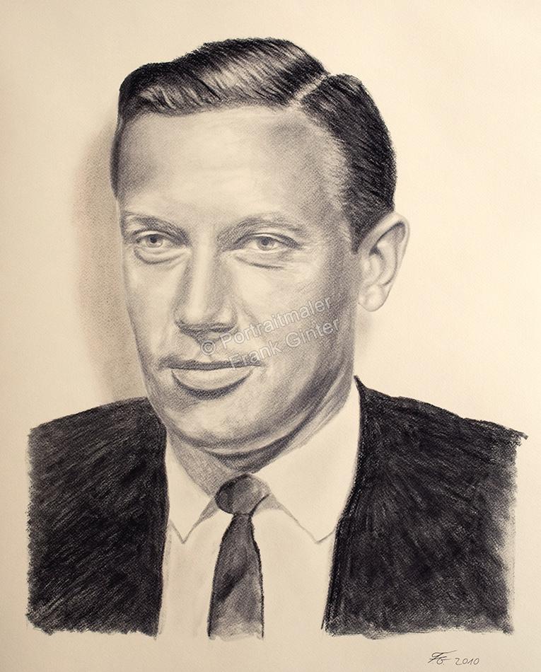 Eine Kohlezeichnung Portraitzeichnung ein Mann