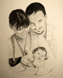 Kohlezeichnung, Portraitzeichnung, Familienportrait, Kohlezeichnungen einer Familie, Kohle Portraits, Portraitzeichnungen Familie