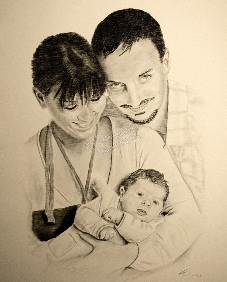Eine Portraitzeichnung - Kohlezeichnung Mann, Frau und Baby Familienzeichnung Familienportrait