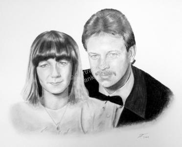 Eine Portraitzeichnung - Kohlezeichnung Mann und Frau Paarzeichnung Paarportrait
