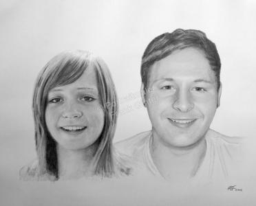 Kohlezeichnung, Portraitzeichnung - Menschen, Kohlezeichnungen von Verliebten, Kohle Portraits, Portraitzeichnungen
