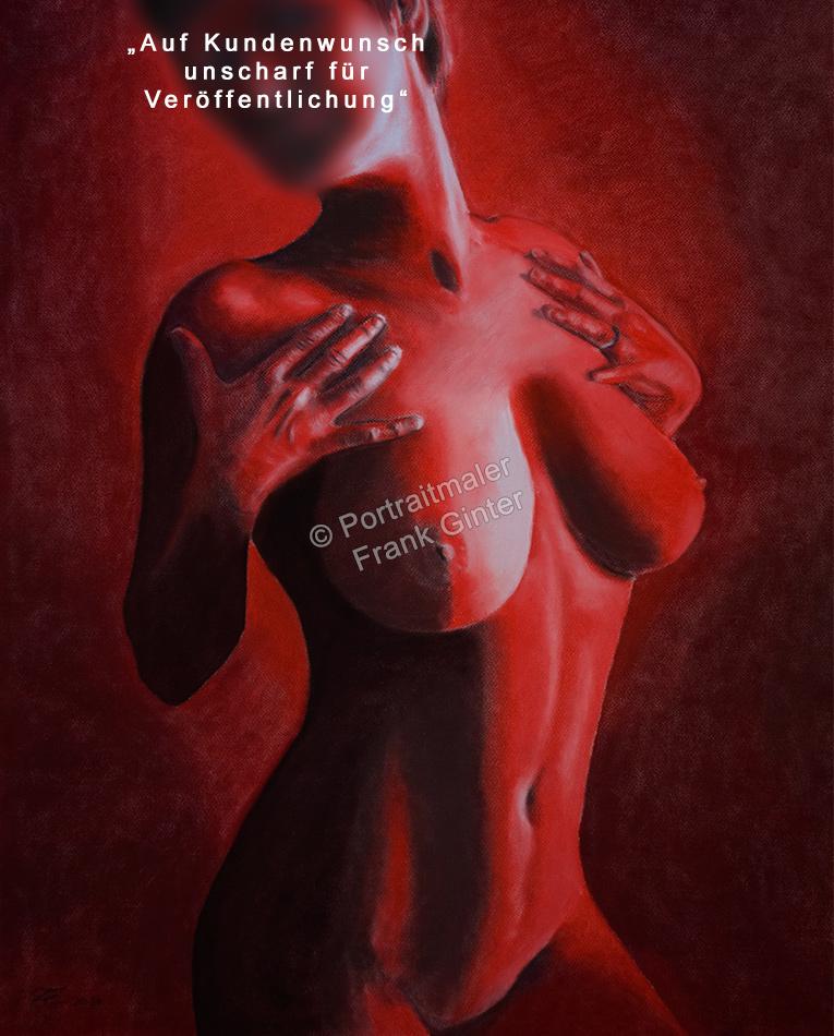 Aktgemälde als Pastellgemälde - Frauen-Aktgemälde, erotisches Frauen Akt-Gemälde