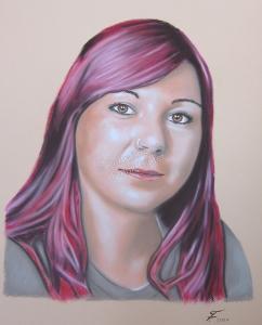 Ein Portraitgemälde - Pastellgemälde Frau