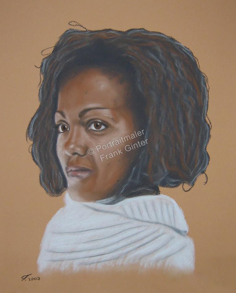 Ein Portraitgemälde - Pastellgemälde schwarze Frau