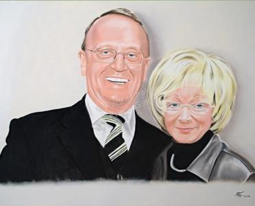 Ein Portraitgemälde - Pastellgemälde Mann und Frau Paargemälde Paarportrait