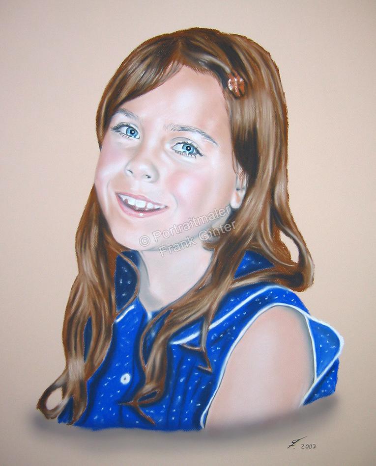 Ein Portraitgemälde - Pastellgemälde Kind Mädchen Kinderportrait