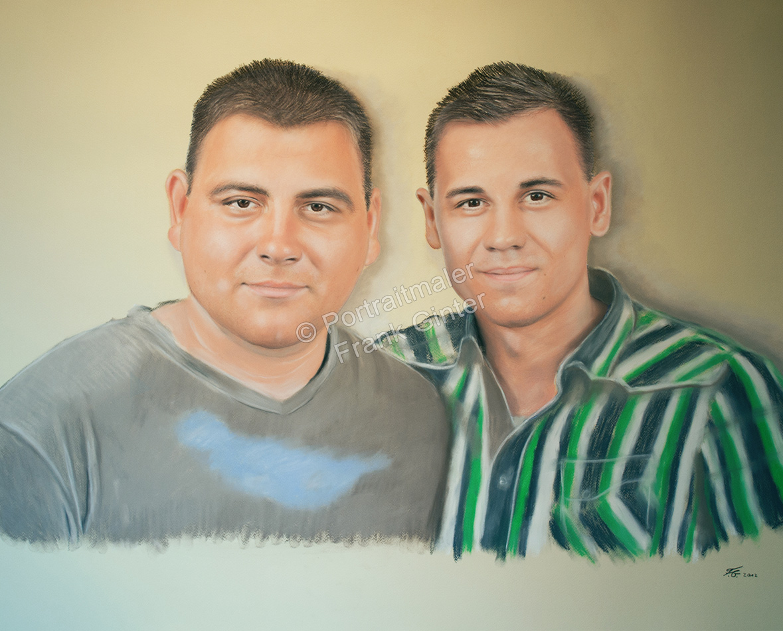 Ein Portraitgemälde - Pastellgemälde zwei Männer, Männer-Portrait