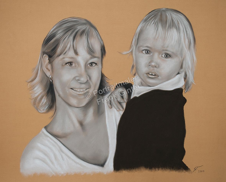 Ein Portraitgemälde - Pastellgemälde Frau und Kind, Familienportrait