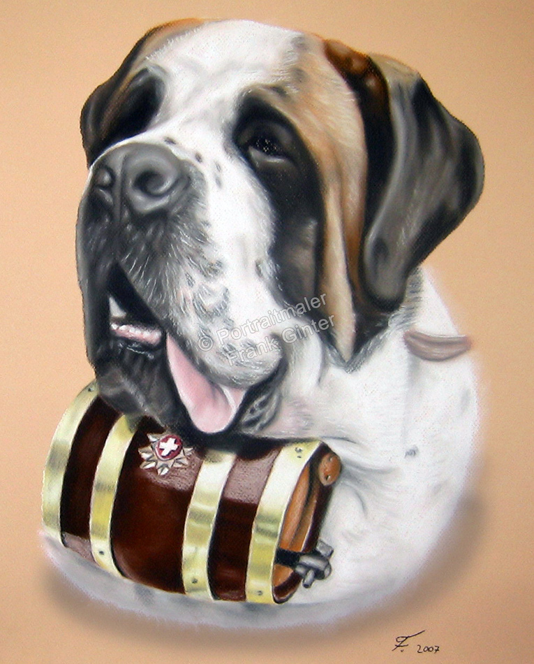 Erfurt, Handgemalte Bilder, Tiermalerei, Bilder malen lassen, Tiermaler, Hunde, Tierportraits, Hundeportrait, Hundegemälde Bernhardiner