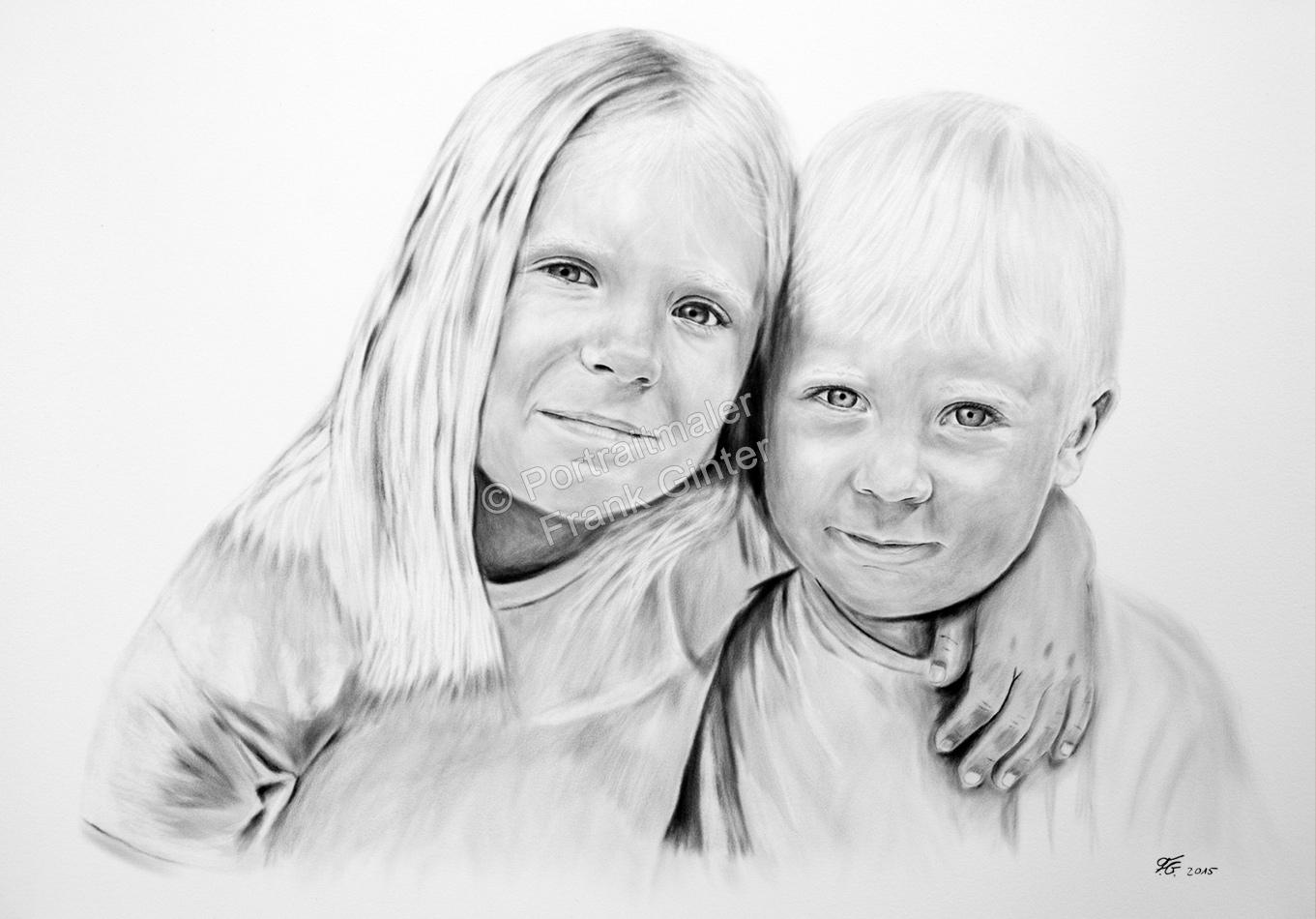 Oelgemaelde, Dry Brush Technik Portraitgemälde Kinder, Junge und Mädchen, Ölbild-Trockenpinseltechnik