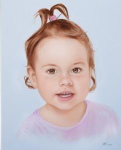 Dry Brush Technik Oelgemaelde, Portraitgemälde Kind, Mädchen, Ölbild-Trockenpinseltechnik