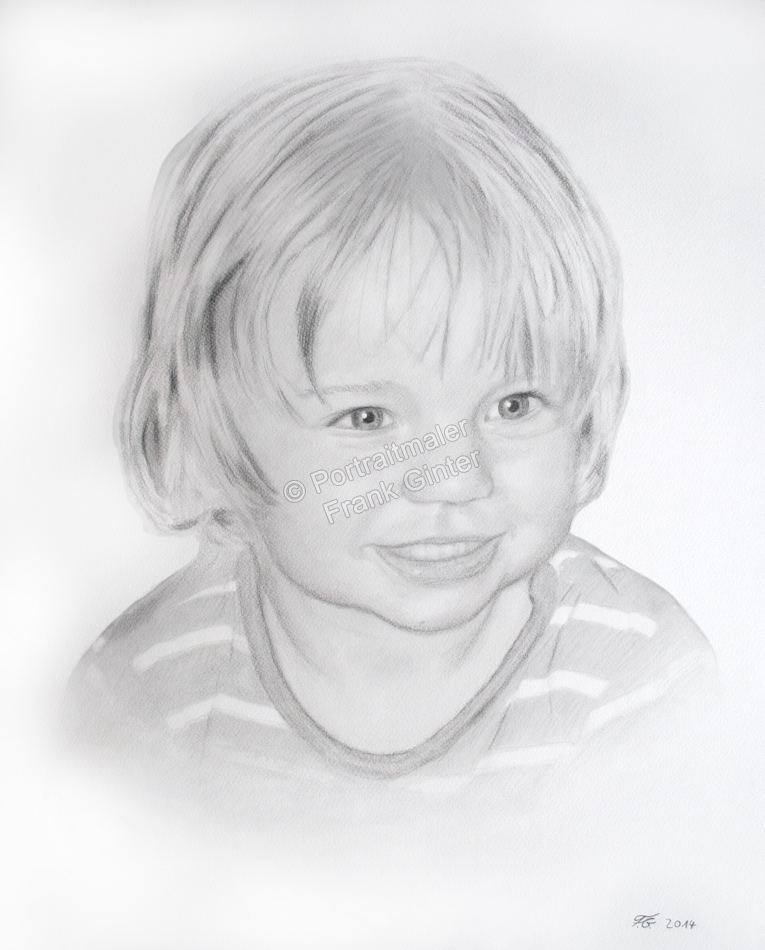 Eine Kohlezeichnung Portraitzeichnung eines Mädchens, Kinderzeichnung