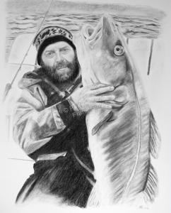 Angler mit Fisch Portraitzeichnung in Kohle, Kohlezeichnung, Tierzeichnung, Mann mit Fisch