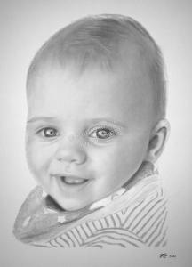 Bleistiftzeichnung Baby, Portraitzeichnung - Babyzeichnung, Babyportrait, Bleistiftzeichnungen Baby-Portrait