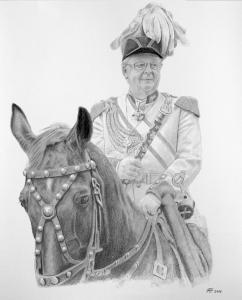 Pferdezeichnung, Bleistiftzeichnungen, Tierportraits, Pferdeportrait - Bleistiftzeichnung, Tierzeichnungen, Tierzeichner, Reiter mit Pferd