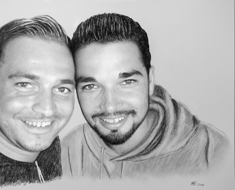 Bleistiftzeichnungen, Portraitzeichnung, Portrait zeichnen lassen, zwei Männer, Geschwister-Portrait, Brüder-Portrait