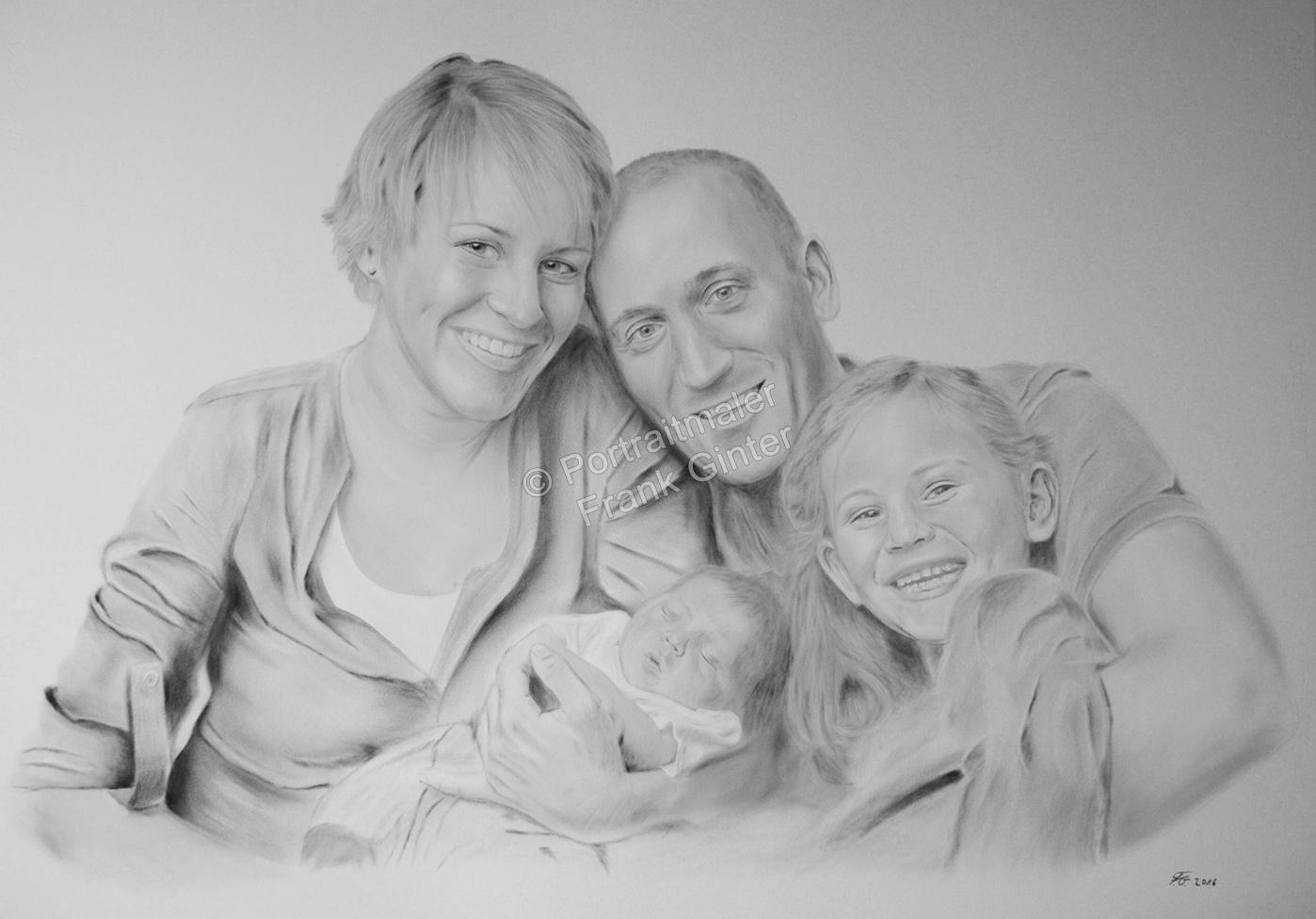 Ölgemälde Dry Brush Portraitmalerei, Portraitgemälde, Familienportrait, Portraitmaler, handgemalte Familienportraits