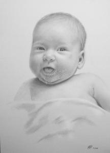 Bleistiftzeichnung Baby, Portraitzeichnung - Babyzeichnung, Babyportrait in Bleistift, Bleistiftzeichnungen Baby-Portrait