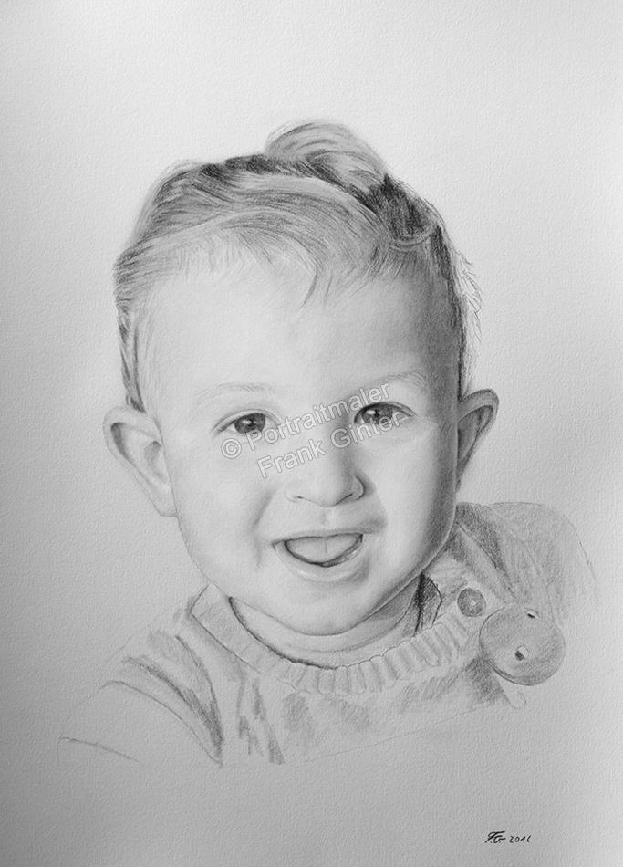 Bleistiftzeichnungen Babys, Kleinkinder, Portraitzeichnung - Babyzeichnung, Babyportrait in Bleistift, Baby-Portraits