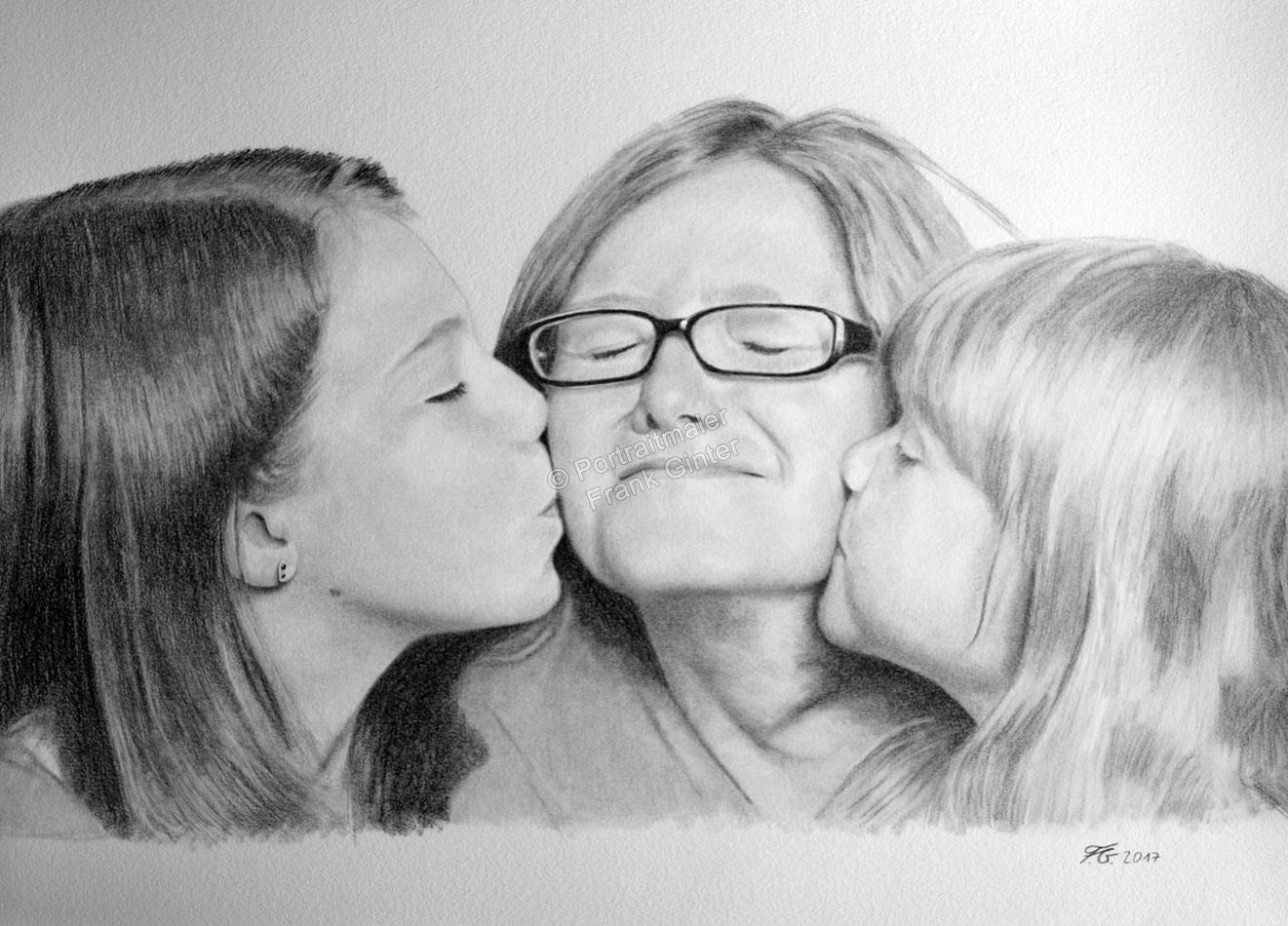 Bleistiftzeichnungen, Portraitzeichnung, Familie, Bleistiftzeichnung, Portraitzeichner