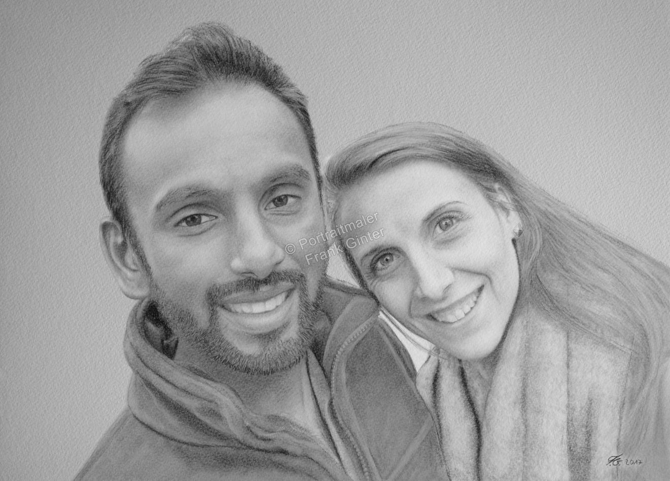 Bleistiftzeichnung, Portraitzeichnung - Menschen, Bleistiftzeichnungen von Paaren, Bleistift Portraits, Portraitzeichnungen