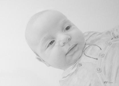 Bleistiftzeichnungen Baby, Portraitzeichnung mit Bleistift - Babyzeichnung, Babyportrait, Baby-Portrait-Zeichnung