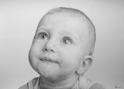 Bleistiftzeichnung Babyportrait, Portraitzeichnung, Baby, Bleistiftzeichnungen Portrait, Portraitzeichner