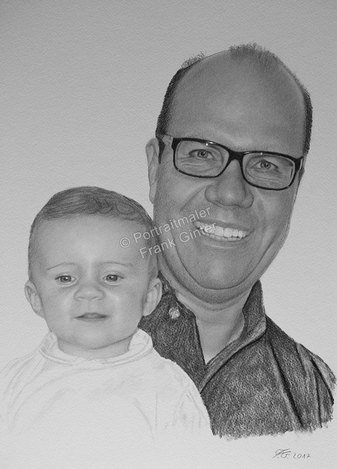 Bleistiftzeichnung, Portrait, Kind mit Onkel, Familien-Portraits zeichnen lassen Kinder-Portrait, Portraitzeichnung