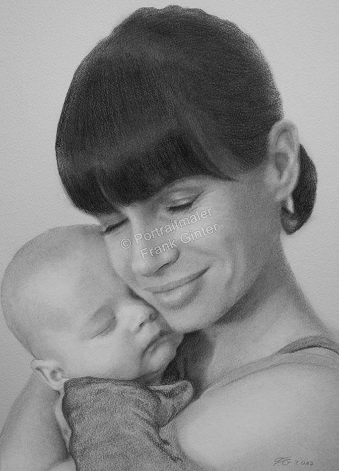 Bleistiftzeichnungen, Portraitzeichnung, Mutter und Baby, Portrait zeichnen lassen